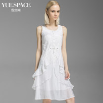 Dress Summer 2017 white 160/84A/S 165/88A/M 170/92A/L Mid length dress singleton  Sleeveless Sweet Crew neck middle-waisted Solid color Single breasted Ruffle Skirt straps 25-29 years old Type X More than 95% brocade cotton Cotton 100% Countryside