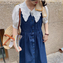 Dress Summer 2021 navy blue Average size Mid length dress singleton  commute High waist Solid color Socket other other Others 18-24 years old Type H Honey rain Korean version 68078%