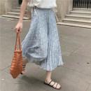 skirt Summer 2021 Average size Blue, green Mid length dress commute Natural waist other Broken flowers Type H 18-24 years old 66703% 30% and below Honey rain Korean version
