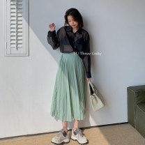 skirt Spring 2021 Average size White, green Mid length dress commute Natural waist other Solid color Type H 18-24 years old 61366% 30% and below Honey rain Korean version