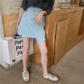 skirt Summer 2021 S wathet Short skirt commute Natural waist other Solid color Type H 18-24 years old 054% 30% and below Honey rain Korean version