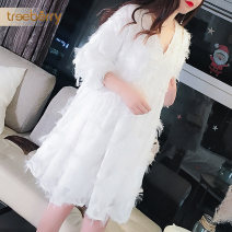 Dress Spring of 2019 White black S M L XL XXL Mid length dress singleton  three quarter sleeve commute V-neck Loose waist Solid color Socket routine Others 25-29 years old treeberry Korean version Flocking tr0000583 More than 95% other Other 100% Pure e-commerce (online only)