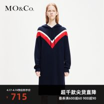 Dress Spring of 2019 Off white dark sapphire blue XS/155 S/160 M/165 L/170 XL/175 Mid length dress singleton  Long sleeves street Hood Loose waist other Socket Pencil skirt routine Others 25-29 years old Type H MO & Co. / Moco Splicing MAI1DRS028 More than 95% knitting wool Wool 100%