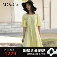 Dress Summer 2021 XS/155 S/160 M/165 L/170 XL/175 Mid length dress singleton  Short sleeve street Solid color Socket 25-29 years old MO & Co. / Moco More than 95% cotton Same model in shopping mall (sold online and offline) Europe and America