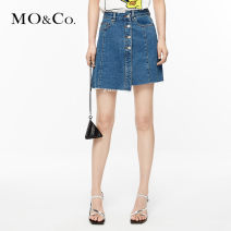 skirt Summer 2020 XS/155 S/160 M/165 L/170 XL/175 Denim blue Short skirt street High waist Denim skirt Solid color Type A 25-29 years old More than 95% MO & Co. / Moco cotton Cotton 100% Same model in shopping mall (sold online and offline) Europe and America