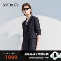 Dress Summer 2021 black XS/155 S/160 M/165 L/170 XL/175 Mid length dress singleton  Short sleeve street tailored collar Solid color Single row two buttons 25-29 years old MO & Co. / Moco MBA2DRS017 More than 95% other Triacetate fiber (triacetate fiber) 100% Europe and America