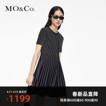 Dress Spring 2021 This is white and black XS/155 S/160 M/165 L/170 XL/175 Mid length dress singleton  Short sleeve street Crew neck stripe 25-29 years old MO & Co. / Moco 31% (inclusive) - 50% (inclusive) nylon Viscose (viscose) 68% polyamide (nylon) 32% Europe and America