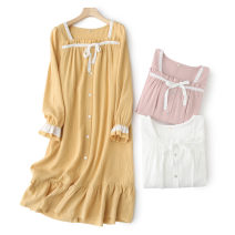 Nightdress Z.Moment yellow , powder , white One size fits all , One size fits all - About 8 days in advance Sweet Long sleeves Leisure home Middle-skirt summer Solid color youth square neck cotton lace More than 95% pure cotton