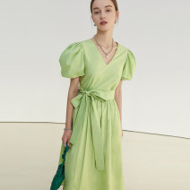Dress Spring 2021 Fruit green, the second batch of fruit green XS,S,M,L longuette singleton  Short sleeve commute V-neck Elastic waist Solid color Socket other puff sleeve Others 18-24 years old Type X fano studios Simplicity Lapel FC21L027 More than 95% other cotton