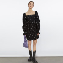 Dress Spring 2021 Black, black second batch S,M,L Mid length dress singleton  Long sleeves commute square neck High waist Decor Socket A-line skirt puff sleeve 18-24 years old Type A fano studios Simplicity printing FC21L009 More than 95% other cotton