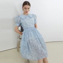 Dress High waist Type A Simplicity A-line skirt Other Summer 2021 routine Short sleeve singleton  Design and color Doll Collar commute Condom Short skirt Lapel 18-24 years old cotton More than 95% other FX21L110 fano studios S,M,L