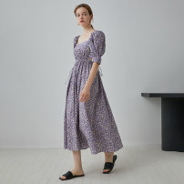 Dress Summer 2020 Purple, purple second batch S,M,L longuette singleton  Short sleeve commute square neck Broken flowers Socket other Others 18-24 years old Type A fano studios Simplicity Hollowing out FA20L107 More than 95% cotton