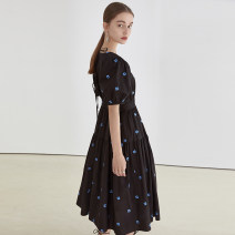 Dress Summer 2021 Black, black second batch S,M,L longuette singleton  Short sleeve commute Crew neck High waist Decor Socket other puff sleeve Others 18-24 years old fano studios Simplicity Lapel FX21L033 More than 95% other cotton