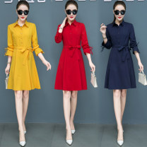 Dress Autumn of 2019 Red, yellow, dark blue, black and white, sleeveless, blue stripe, long sleeves S,M,L,XL,2XL,3XL,4XL,5XL Mid length dress singleton  Nine point sleeve commute Polo collar Elastic waist Solid color Socket Big swing routine Others 25-29 years old Type A Julia Korean version other