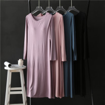 Dress Spring 2021 Black, purple, blue, pink, purple body color M, L longuette singleton  Long sleeves commute Crew neck Loose waist Solid color Socket routine Others Type H More than 95% modal