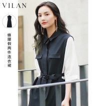 Dress Spring 2021 Tibetan green 155/80A 160/84A 165/88A 170/92A Mid length dress singleton  elbow sleeve square neck High waist Single breasted other 25-29 years old Type A Vivian / Huilan Color fixing with stitching resin J1095SL3-1 81% (inclusive) - 90% (inclusive) polyester fiber