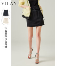 skirt Spring 2021 155/64A 160/68A 165/72A 170/76A Dark night Black Beige Short skirt High waist A-line skirt Solid color Type A 25-29 years old J2051DQ1 More than 95% other Vivian / Huilan polyester fiber Lace up zipper Polyester 100% Same model in shopping mall (sold online and offline)