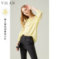 Lace / Chiffon Summer 2021 Transparent yellow 155/80A 160/84A 165/88A 170/92A Nine point sleeve Socket singleton  easy Regular Crew neck Solid color raglan sleeve 25-29 years old Vivian / Huilan Polyester 50% viscose (viscose) 50% Same model in shopping mall (sold online and offline)