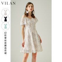 Dress Spring 2021 Dark night, clear water, blue and white 155/80A 160/84A 165/88A 170/92A Mid length dress singleton  Short sleeve V-neck High waist Solid color Socket Princess Dress routine Others 25-29 years old Type A Vivian / Huilan Tassel zipper J2025SL1 31% (inclusive) - 50% (inclusive) nylon