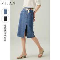 skirt Summer 2021 155/64A 160/68A 165/72A 170/76A Dark night black denim Mid length dress Versatile Natural waist skirt Solid color Type A 25-29 years old J2009NQ2 71% (inclusive) - 80% (inclusive) Vivian / Huilan cotton zipper Cotton 74.6% polyester 18.2% viscose 3.5% others 3.7%