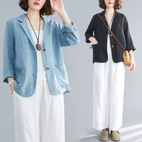 Women's large Summer 2020 Blue, black M [100-120 Jin], l [120-140 Jin], XL [140-160 Jin], 2XL [160-180 Jin] suit singleton  commute easy thin Cardigan Long sleeves Solid color literature other routine Cotton, hemp Three dimensional cutting routine Other / other 25-29 years old pocket