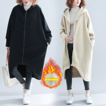 Women's large Autumn 2020 Beige, black One size fits all Windbreaker singleton  commute easy thickening Cardigan Long sleeves Solid color literature Hood Medium length cotton Three dimensional cutting routine Other / other 25-29 years old pocket 71% (inclusive) - 80% (inclusive) zipper