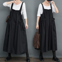 Dress Autumn 2020 Black strap skirt Loose average [95-150kg] longuette singleton  Sleeveless commute other Loose waist Solid color Socket Big swing routine straps 25-29 years old Type A Other / other literature pocket 81% (inclusive) - 90% (inclusive) other cotton