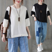 Women's large Spring 2021, summer 2021 White, black L [100-150 Jin], XL [150-200 Jin] T-shirt singleton  commute easy moderate Socket elbow sleeve Solid color literature Crew neck routine cotton Collage Bat sleeve Other / other 25-29 years old 71% (inclusive) - 80% (inclusive)