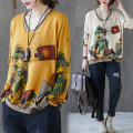 Women's large Winter 2020, autumn 2020 Apricot, yellow, light brown Large average size [100-180 kg] sweater singleton  commute easy moderate Socket Long sleeves Cartoon animation literature V-neck routine other printing and dyeing routine Other / other 25-29 years old pocket
