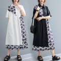 Women's large Summer 2021 White, black L [95-130 kg], XL [130-170 kg] Dress Fake two pieces commute easy thin Socket Short sleeve Decor literature other Cotton, polyester Three dimensional cutting routine Other / other 25-29 years old pocket 71% (inclusive) - 80% (inclusive) Medium length other