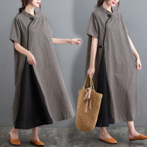Women's large Summer 2021 Picture color M [100-120 Jin], l [120-140 Jin], XL [140-160 Jin], 2XL [160-180 Jin] Dress singleton  commute easy moderate Socket Short sleeve lattice literature stand collar Cotton, hemp Collage routine Others 25-29 years old pocket 71% (inclusive) - 80% (inclusive) other
