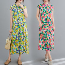 Dress Summer 2020 Rose red, yellow M [90-105 Jin], l [105-120 Jin], XL [120-135 Jin], 2XL [135-150 Jin] longuette singleton  Sleeveless commute stand collar Loose waist Dot Socket A-line skirt routine Others 25-29 years old Type A Other / other Retro Print, button 71% (inclusive) - 80% (inclusive)
