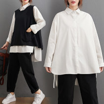 Women's large Autumn 2020 Large average size [100-180 kg] shirt singleton  commute easy moderate Cardigan Long sleeves Solid color literature Polo collar Medium length other Three dimensional cutting shirt sleeve Other / other 25-29 years old Asymmetry 71% (inclusive) - 80% (inclusive)