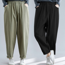 Women's large Spring 2020, summer 2020 Army green, black M [90-110 Jin], l [110-125 Jin], XL [125-140 Jin], 2XL [140-160 Jin], 3XL [160-180 Jin] trousers singleton  commute easy moderate Solid color Korean version cotton Three dimensional cutting Other / other 25-29 years old pocket trousers