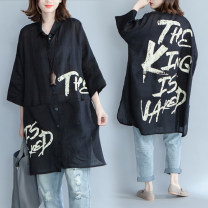Women's large Spring 2021, summer 2021 black shirt singleton  commute easy thin Cardigan three quarter sleeve letter literature Polo collar Medium length Cotton, hemp printing and dyeing routine Other / other 25-29 years old pocket 71% (inclusive) - 80% (inclusive)