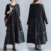 Dress Autumn 2020 black Loose average [95 - 160 kg] longuette singleton  Long sleeves commute Crew neck Loose waist Solid color Socket Cake skirt routine Others 25-29 years old Type A Other / other literature Stitching, pockets 71% (inclusive) - 80% (inclusive) other cotton