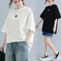 Women's large Summer 2021 White, black L [100-130 kg], XL [140-170 kg] T-shirt singleton  commute easy moderate Socket elbow sleeve shape literature Crew neck routine cotton Three dimensional cutting routine Other / other 25-29 years old Embroidery 81% (inclusive) - 90% (inclusive)