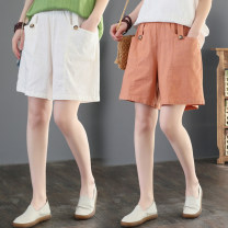 Women's large Summer 2020 Khaki, orange, white, black M [90-105 Jin], l [105-125 Jin], XL [120-150 Jin], 2XL [150-180 Jin] trousers singleton  commute easy moderate Solid color literature Cotton, hemp Three dimensional cutting Other / other 25-29 years old pocket 71% (inclusive) - 80% (inclusive)