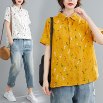 Women's large Summer 2020 White, Navy, yellow M [95-110kg], l [110-130kg], XL [130-150kg], 2XL [150-170kg] shirt singleton  commute easy thin Socket Short sleeve Cartoon animation literature Polo collar routine Cotton, hemp printing and dyeing routine Other / other 25-29 years old Asymmetry