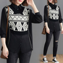 Women's large Spring 2021 black L [100-130 kg], XL [120-150 kg], 2XL [150-180 kg] shirt Fake two pieces commute easy moderate Cardigan Long sleeves shape literature Polo collar routine Cellulose acetate Collage shirt sleeve Other / other 25-29 years old Button 81% (inclusive) - 90% (inclusive)