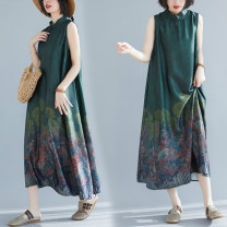 Dress Summer 2020 Picture color L [95-120 kg], XL [120-150 kg] Mid length dress singleton  Sleeveless commute stand collar Loose waist Big flower Socket A-line skirt routine Others 25-29 years old Type A Other / other literature Button, print 71% (inclusive) - 80% (inclusive) Silk and satin other