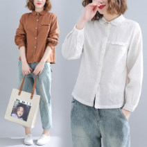 shirt Spring 2020 cotton 81% (inclusive) - 90% (inclusive) Long sleeves commute Doll Collar Single row multi button routine Solid color 25-29 years old Straight cylinder Other / other literature