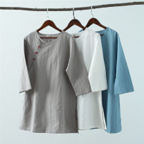 shirt M,L,XL Summer 2017 hemp 81% (inclusive) - 90% (inclusive) Nine point sleeve commute Medium length Polo collar Socket other Solid color Straight cylinder Mafan cloth clothes ethnic style