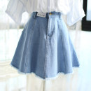 skirt Summer of 2019 XS,S,M,L,XL Short skirt Versatile High waist Denim skirt Solid color Type A 91% (inclusive) - 95% (inclusive) Denim Other / other cotton