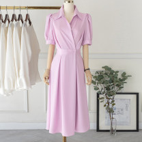 Dress Summer 2020 Lotus root, hibiscus purple, oil painting green S,M,L,XL Mid length dress singleton  Short sleeve commute square neck middle-waisted Solid color A button Pleated skirt puff sleeve Others Type H Other / other Korean version Button, 3D CC886522 91% (inclusive) - 95% (inclusive) other