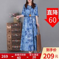 Dress Spring 2021 Blue, apricot M, L Mid length dress singleton  Short sleeve commute V-neck Loose waist Decor Socket Big swing routine Type A literature 51% (inclusive) - 70% (inclusive) hemp