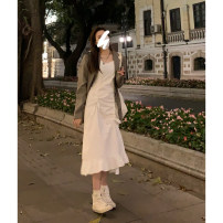 Dress Spring 2021 Black, white, white short sleeve, white skirt, khaki suit, white shirt XS,S,M,L,XL longuette singleton  Sleeveless street One word collar High waist Solid color Socket routine camisole 18-24 years old Type A QL8275 More than 95% cotton Sports & Leisure
