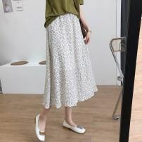 skirt Summer 2021 Average size White, black Mid length dress commute High waist A-line skirt Broken flowers Type A 18-24 years old 2121 floral skirt More than 95% Chiffon other Korean version