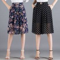 Casual pants Black, blue, yellow, dot M/27,L/28,XL/29,XXL/30,3XL/31,4XL/32 Summer of 2019 Cropped Trousers Wide leg pants High waist Versatile