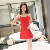 Dress Spring of 2018 Red, black S 98 kg, m 99-109 kg, l 110-120 kg, XL 121-131 kg, 2XL 132-145 kg, full chest, one size larger Short skirt singleton  commute V-neck High waist Solid color zipper Big swing camisole Type X See baby's description Korean version See baby's description